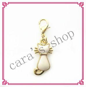 20 / PCS hot sall encantos del gato blanco cuelgan los encantos colgantes pulsera de bricolaje encantos de cristal collar accesorio de la joyería broche de langosta encanto