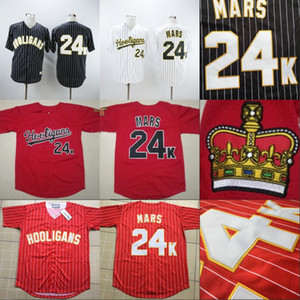 Mens 24K Bruno Mars Hooligans Bianco Ödülleri Gessato Jersey Dikişli Dikişli Düğme Bruno Mars Beyzbol Formaları Ucuz Siyah Kırmızı Beyaz S-3XL