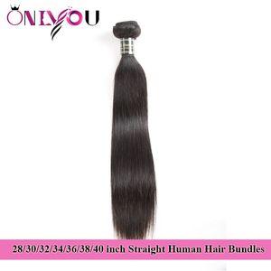 Onlyou Hair Products Rohe indische glatte Menschenhaarbündel 28 30 32 34 36 38 40 Zoll spinnt Bündel brasilianische Jungfrau-Haar-Verlängerungen