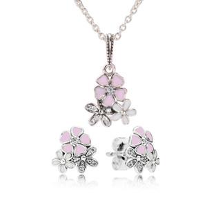 Auténtica plata de ley 925 Esmalte rosa flor colgante collar pendiente conjunto con caja para joyería Pandora pendientes para mujer