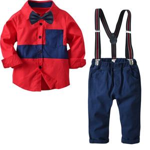 2018 automne nouveau garçon vêtements ensembles vêtements pour enfants bébé chemise à manches longues + salopette en denim costume vêtements pour enfants