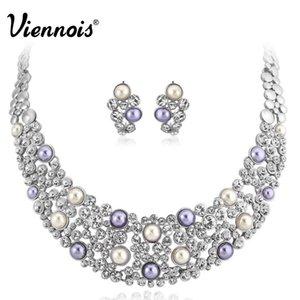 Nueva Viennois Plateado Multi Simulado Perla Rhinestone Pendientes de Cristal Collar Conjunto de Joyas para Mujer Banquete de Boda