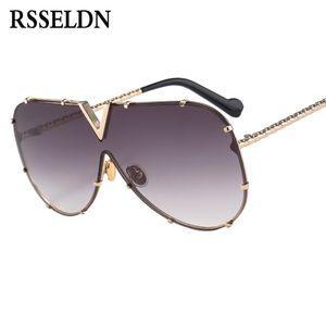 여성 선글래스 금속 UV400 미러 RSSELDN 새로운 2018 원피스 선글라스 남성 높은 품질 오버 사이즈 선글라스