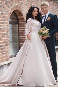 Красивый V-образным вырезом с длинным рукавом Иллюзия A-Line атласная Плюс Размер свадебное платье с кружевом Аппликации Свадебные платья