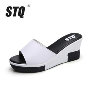 STQ 2017 mujeres sandalias de la plataforma sandalias zapatos para mujer tacón alto Peep Toe Zapatillas sandalias Zapatos de mujer blanco negro zapatos 998