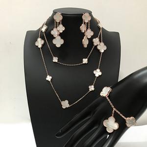 marca de moda de plata 925 de cuatro hojas flor de la joyería de la boda de las mujeres collar pendientes pulsera blanca madre perla joyería de concha del trébol