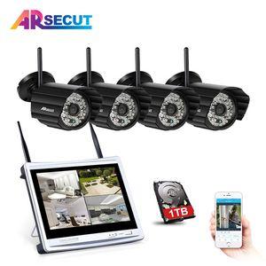 2017NewPlug والتشغيل 4CH اللاسلكي NVR CCTV Kit960P 1.3MP HD في الهواء الطلق + داخلي 48IR ليلة Vison واي فاي نظام الأمن كاميرا 2TB HDD