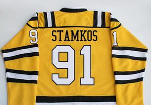 Gerçek Erkekler gerçek Tam nakış Özelleştirmek OHL Sarnia Sting 91 Steven Stamkos Nikita Korostelev Forması veya özel herhangi bir isim veya numara Jersey