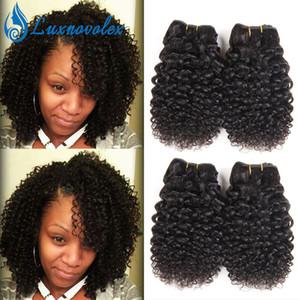 Бразильские волосы девственницы вьющиеся 4 пакета короткие человеческие волосы плетение пучки перуанские малайзийские индийские наращивания волос 50 г / пучка натуральный цвет