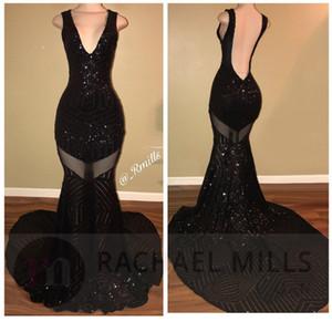 Negro Borgoña con lentejuelas vestidos de fiesta de baile 2018 Mermaid V Neck Sexy Open Back Celebrity Ocasión vestidos de noche por encargo