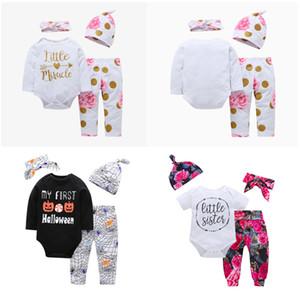 Bebé recién nacido ropa de las muchachas de Navidad Hollowen la técnica para niños muchachas del muchacho de 4 piezas Juego Romper + Pant + Hat + venda del bebé de los niños que arropan