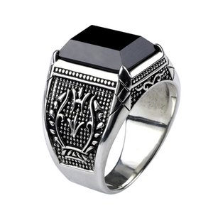 빈티지 링 남성 진짜 순수 925 스털링 실버 주얼리 남성 펑크 패션 검은 흑요석 자연적인 돌 반지