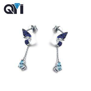 QYI Fashion 925 Sterling Silver Boucles d'oreilles Femme Fine Jewelry 2.5 ct Forme Ovale Natural Sky Topaze Bleu Boucles D'oreilles