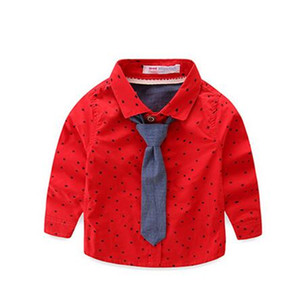 Boy baby tie shirt 2018 Korean version of the new boy children's clothing children's stars long-sleeved shirt boy banquet suit shirt