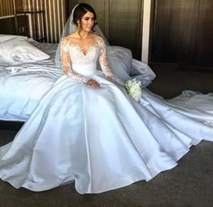 Magnifique fendus Robes de Mariée avec détachable Jupe 2019 manches longues Illusion Corsage overskirts longue Steven Khalil Robes de mariée