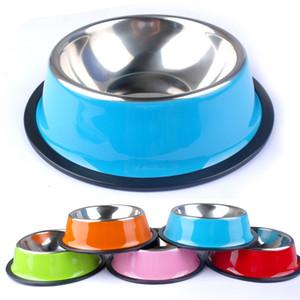 Ciotola di cane in acciaio inox all'ingrosso Pet Puppy Cat Cani Food Drink Water Dish Feeder per cucciolo di gatto 6 colori