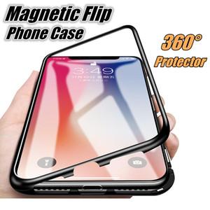 Hot Sale Magnetic Adsorção Phone Case Com liga de alumínio Frame + vidro temperado íman incorporado para o iPhone X iPhone 7 8 Plus 6s