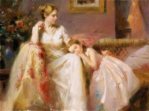 Mãe e Nap Tarde criança por Pino Daeni alta mão de qualidade pintado pintura famosa Arte do impressionismo óleo sobre tela multi tamanhos F32 #