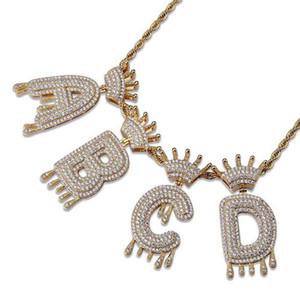 Luxus Euro ausgegangen Bling A-Z Krone Englische Brief Anhänger Halskette Goldsilver Hip Hop 3mm 60 cm Seil Kette Mode Männer Frauen Schmuck Geschenkbox