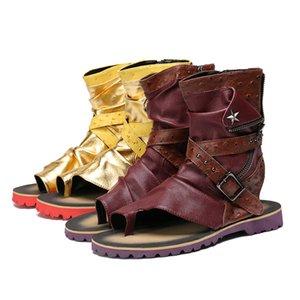 Summer-Toe-Knob Men Sandals Gladiator Men Summer Botas de moto Black Open Heels Zapatos de hombre Sandalias Botines
