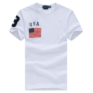 3 stlye nouvelle vente chaude classique usa 100% coton gros drapeau polo shirt à manches courtes hommes, expédition de baisse
