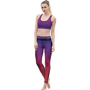 Nouvelle Arrivée Rayé Haute Qualité Femmes Leggings Ensemble Fitness Legging Femme Élastique Haute Taille Fitness Workout Leggins Survêtement