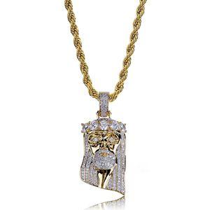 Mode Kupfer Gold Farbe überzogen Iced Out Jesus Gesicht Anhänger Halskette Micro Pave Big CZ Stein Hip Hop Bling Schmuck