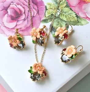 Warmhome Trendy Schmuck Emaille Glasur Kupfer Mode Rosa Blume Grau Edelstein Perlen Halskette Ohrringe Für Frauen