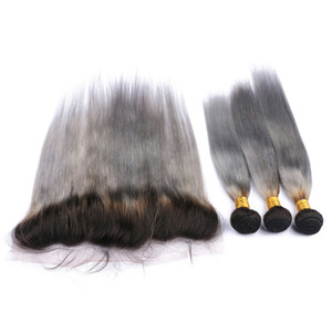 브라질 옴 브레 실버 그레이 인간의 머리카락 번들 13x4 레이스 정면 폐쇄 # 1B / 그레이 옴브 버진 헤어 위사 확장과 어두운 뿌리