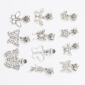 Mix 11 BUTTERFLY DANGLES Antique Silver Plated Alloy Big Hole Charms Beads fit bracelet DIY Jewelry Necklaces & Pendants Beads