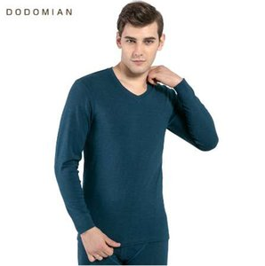 DO DO MIAN Herbst Men Bottom Thermische Unterwäsche Cotton Warm V-Ausschnitt Weicher beiläufiger Long John tops + pants grauer blauer Wein