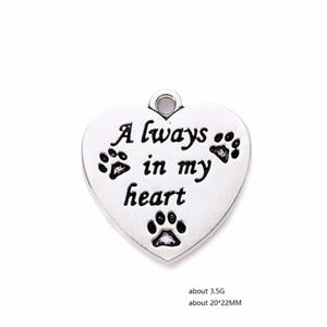 새로운 도착 동물의 매력 Word는 항상 내 마음에 사랑 개가 Paw Print Heart Charms for Jewelry Making