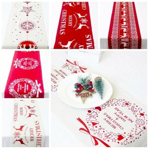 Rectangular Classic Red White Christmas Table Runner with Reindeer Snowflake Linen Decor Party Glitter Tablecloth for Xmas Party