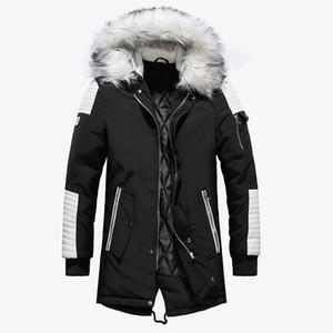 2019 Büyük Kürk Yaka Moda Lüks Erkekler Uzun Coat Kalın Erkek Kış Ceket Erkek Tasarımcı Kışlık Mont Boyut M-2XL