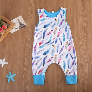 Newborn Baby Boy Feather Jumpsuit Onesies Blue Romper Toddler Sleeveless Pajamas Baby Outfit Bodysuit Sunsuit Kid Clothing set