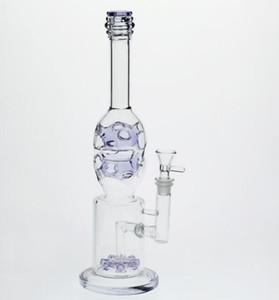 LavenderPurple Glass Bongs dab rig perc two fuction recycler oil rigs glass bong arm tree feb egg smoking hookahs
