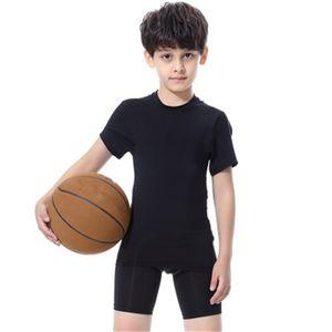 Марка Дети Спортивная Баскетбол Футбол Спорт T рубашка брюки дышащий Quick Dry Йога Фитнес-центр Одежда для детей мальчиков Летние топы Комплекты