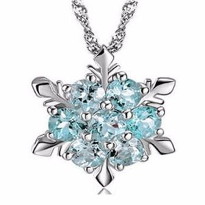 designer jewelry Charm Vintage Lady Necklace Women Snowflake Flower Shape Blue Zircon Silver-plated Pendants Necklaces Fashion Jewelry