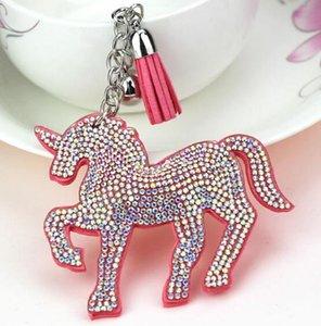 DHLFREE 50PCS Bling Unicorn Horn Leather Tassel Keychain Fashion Key Chain Keyrings for Women Car Bag Pendant Jewellery