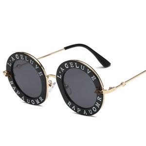 Diseñador de gafas de sol para las mujeres del patrón del nuevo Mens de la manera pequeño Gafas de sol Gafas de abeja Carta Vintage Retro Gafas de sol redondas