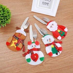 Рождественский нож вилка держатель рождественский декор стол столовые приборы держатель рождественские украшения для дома Снеговик Санта-Клаус