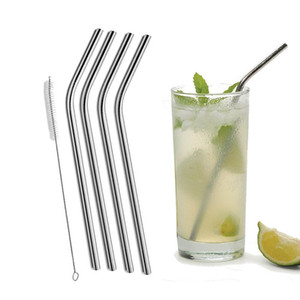 "Hot Sale Stainless Steel Drinking Straws 8.5""  9.5""  10.5"" Bent and Straight Reusable Eco Drinking Straws"