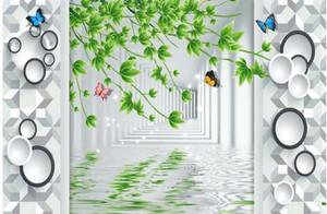 Mur de fond d'écran 3D panneau mural laisse TV toile de fond chambre papier peint photo 3D