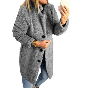 Winter Faux Pelzmantel Frauen Flauschige Fleece Warme Lange Mäntel Outwear Mode Revers Hairy Jacken Weibliche Lose Mantel Abrigo Mujer