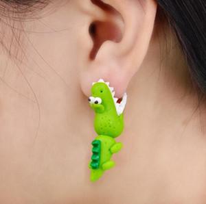Handmade Polymer Clay Crocodile Dinosaur Stud Earring For Women Animal Earrings Fine Jewelry Fashion Girl Earring Wholesale 3655