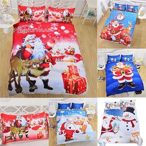 3D Conjuntos de ropa de cama de Navidad 3 unids / set Funda Nórdica Fundas de Almohada Papá Noel Muñeco de nieve Decoración de Navidad Regalo de Navidad WX9-1026