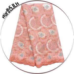 Swiss Voile Lace Teal Peach Partido Dubai Africano seco Nigéria Africano Swiss Lace Fabric 2018 de alta qualidade material do laço