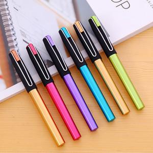 Pluma real práctica pluma de estudiante de caligrafía de color con flash pluma de plástico de 6 colores