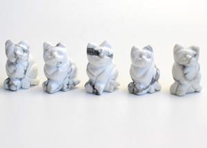 1.5 인치 높이 작은 크기 자연 Howlite 조각 된 크리스탈 Reiki 치유 행운의 귀여운 고양이 동상