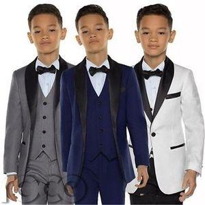 Garçons smoking boys dîner costumes trois pièces garçons châle noir châle costume tuxedo pour enfants smoking
